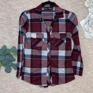 [Polly & Esther] Printed Plaid Button Down Shirt